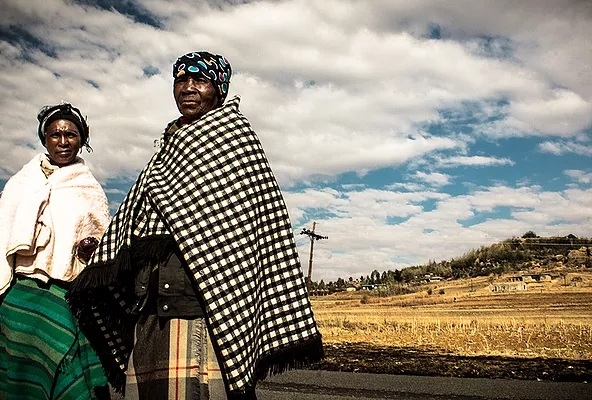 Elderly in Botha Bothe. Blankets are traditional sotho garment.