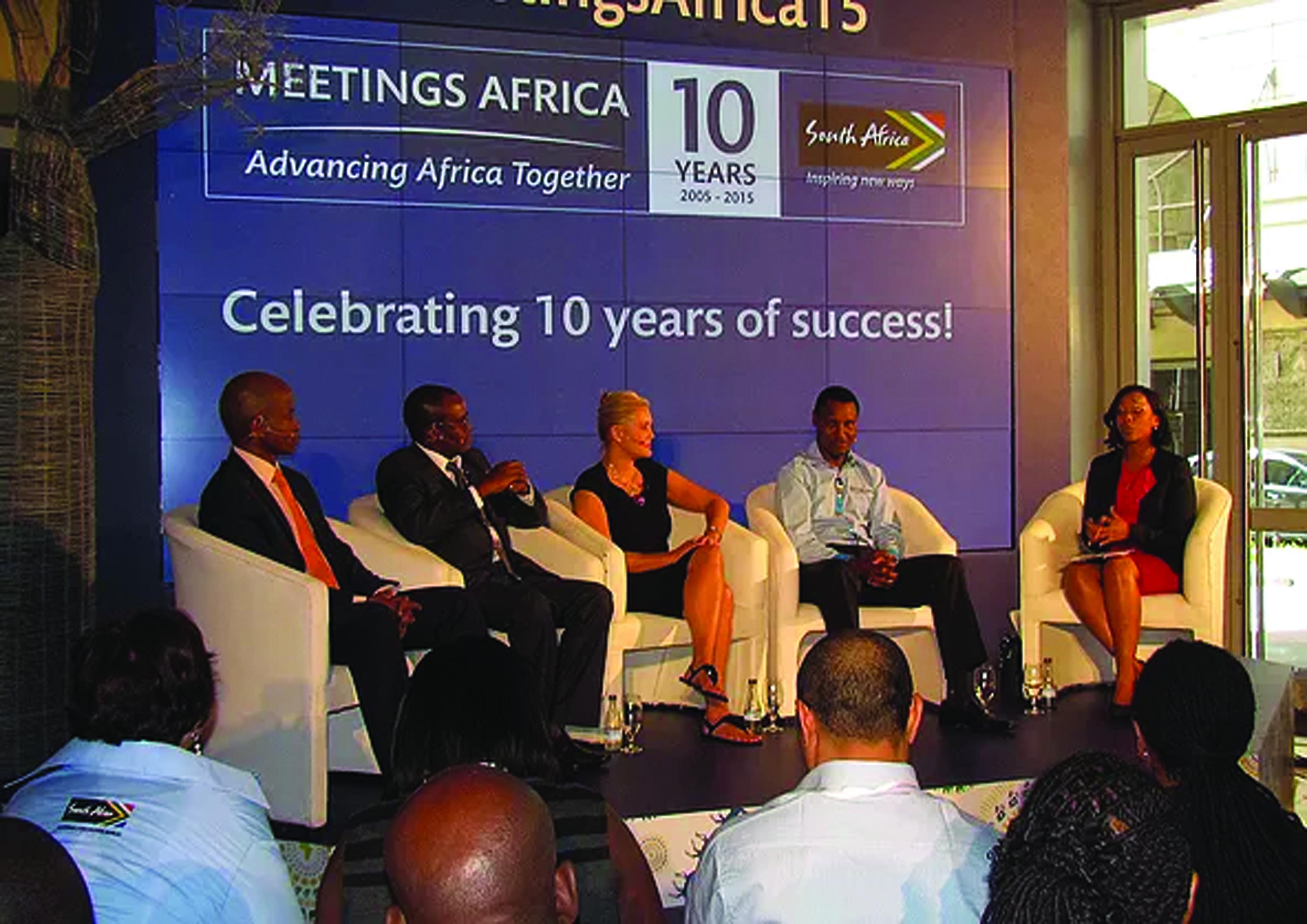 Speakers at last year Meetings Africa held in Johannesburg, South Africa. Meetings Africa 2015 was a celebration of 10 years of success.