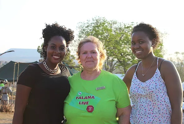 NomadTV presenter, Elizabeth Mojabeng and Nomad Africa Magazine journalist, Jane Sikwe poses with the Curator of the Talana Museum, Pam MacFadden at the event.