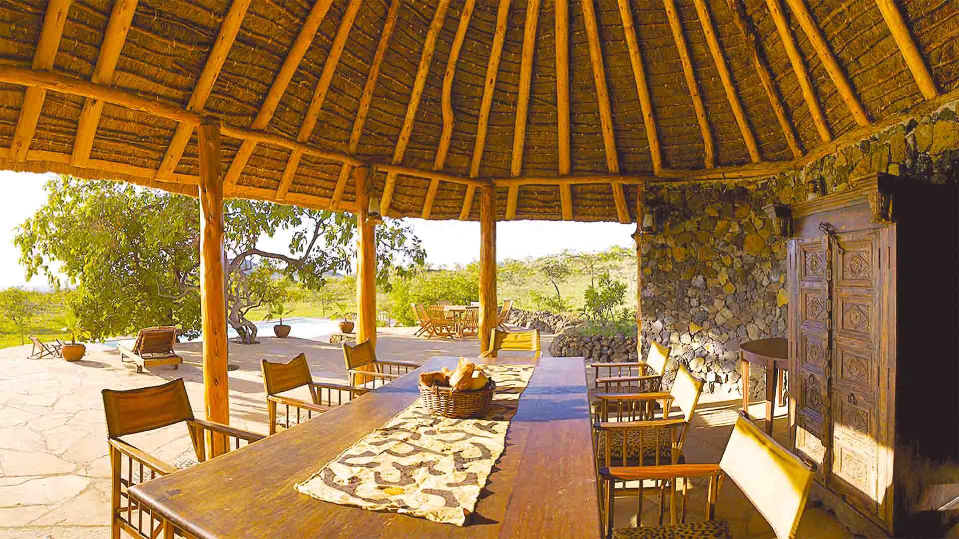 Fireplace and guests area at Campi ya Kanzi, Kenya.